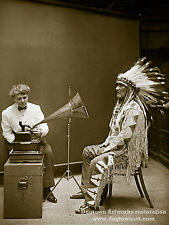 Giclee Reprint Vintage Native American Photo BLACKFOOT MAN Listens to PHONOGRAPH