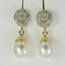 8.08ct Pearl & 10 Diamond 9ct 9K Solid Gold Stud Earrings - 30 Day Returns