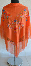 """Orange Spanish flamenco shawl with multifloral embroidery 66"""" x 39"""" From Spain"""