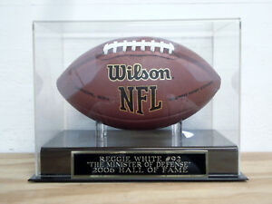 Reggie White Football Display Case With A Green Bay Packers Engraved Nameplate
