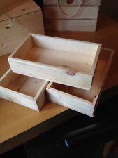 3 X Cesto Cesta di legno, scatola regalo, Scatola di immagazzinaggio Cesto, Vassoio, rettangolare di piccole dimensioni