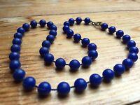 Kitsch Blue Bead Necklace/Bobble/X Short/Plastic Retro Look/70's/80's/Kids?