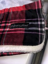 Victoria Secret Sherpa Blanket Red Blue Pink Plaid Nwt 50x60