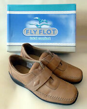 Fly Flot Ladies Leather Casual Shoes Velcro Strap Beige Brown Size 6  NEW in BOX