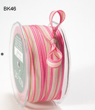 3/8 Inch Grosgrain Striped Ribbon –Pink/sGreen/White - BK46- 5 yds