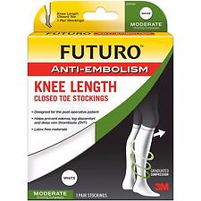 Futuro Anti-embolism Stockings Knee Length Closed Toe, Large Moderate (3 Pack)