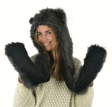 Trooper Trapper Ski Cap Hat Bomber Faux Fur Animal Hood  Gloves Wolf  Black Grey