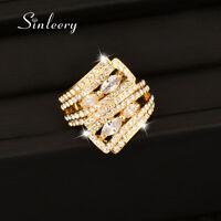 Luxury Dazzling Full Cubic Zirconia Women Wedding Engagement Rings Statement New