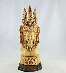 Indien / Krishna auf Holzsockel / Hindu / geschnitzt / elfenbeinfarben / Buddha