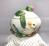 Vintage Fitz and Floyd Duck Egg Condiment Jar with Spoon Pink Rose Bud Nest