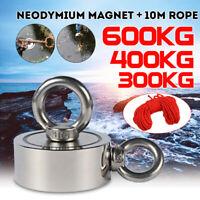 350//450//600KG Neodymium Magnet Double Side Fishing Metal Treasure 10//30M Rope