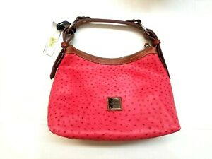 NWT Dooney & Bourke Ostrich Pebble Texture Leather Hobo Magenta $275