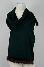 Schal, scarf 100% Cashmere Kaschmir Kaninchen Fell Rabbit fur Dunkelgrün Green