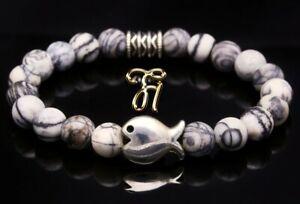 Jasper Bracelet Pearl Bracelet Grey Matte Flat Fish 0 5/16in