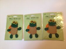 (12 lot) Plaid Felt Stitched Iron-On Transfer Turtle green and yellow new