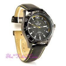 OMAX Waterproof Chunky Black & Yellow Sporty Seiko Movement Leather Watch OAS185