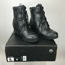 Sorel Joan Rain Wedge Boot Black/Sea Salt Size 12