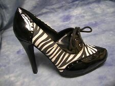 Qupid Black Patent Vegan Leather Zebra Animal Print Oxford Pumps Shoes Size 8.5