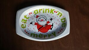 Small Vintage Santa Claus Holiday Appetizer Tray Oval Plastic Festive Christmas