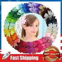 "40cs 3"" Boutique Grosgrain Ribbon Pinwheel Hair Bows Alligator Clips For Girls"