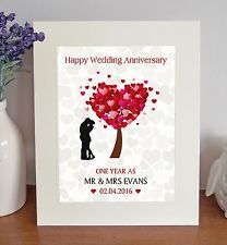 "PERSONALISED Wedding Anniversary 10""x8"" Free-Standing Picture Mount Gift Present"