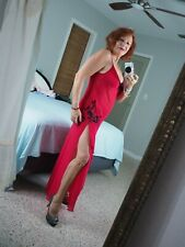 Stunning DELICATES Red SHEER NightGown SEXY Black Lace TANGO Dress Slit sz Large