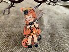 """Repro Vintage 1900s Girl Witch with Broom Halloween Mini Decoration,2"""" TO 3"""""""