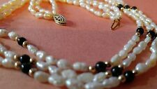 Vintage Cream Triple Row Freshwater Pearl Necklace with gold and black beads GF
