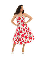 Hearts & Roses 50's Women White Vintage Retro Red Roses Rockabilly Swing Dress