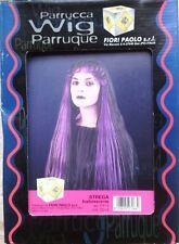 Parrucca nera e viola lunga liscia strega maga Morticia fata carnevale teatro