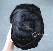 Monofilament Toupee Hair Replacement System Men's Hair Piece Remy Hair #1 Black
