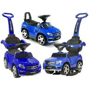 Kids Licensed Mercedes GL63 Ride on Car Push Along Foot to Floor 4 in 1 - Blue