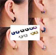 2pc Punk Mens Women Stainless Steel Hoop Huggies Ear Stud Earrings Gothic