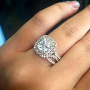 3Cttw White Cushion Diamond Bridal Wedding Ring Set In Solid 925 Sterling Silver