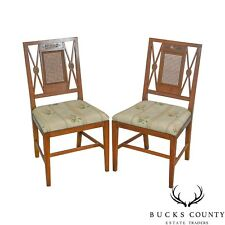 Schmieg & Kotzian Vintage Pair of Adams Painted Caned Side Chairs