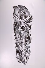 Temporary Tattoo Sleeve Full Arm Realistic Sword Going Through Eye