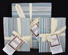 3 PC West Elm Skinny Mini Stripe Duvet Cover Full Queen & 2 Euro Shams Aqua #11
