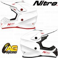 Nitro 2019 Adult Helmet MX 620 Uno White Motocross Enduro Quad ATV