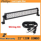 22inch 120W Philips LED Light Bar Spot Flood UTE SUV Offroad 4WD Jeep+Wiring Kit