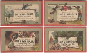 Four Providence Rhode Island Shoe Dealer Victorian Trade Cards -Ship Camping Cat