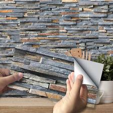 9pcs Dark Grey Mosaic Bricks Self-adhesive Bath Kitchen Wall Tile Stair Sticker