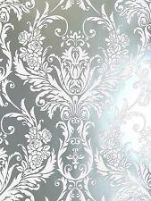 Luxury White & Silver Metallic Medina Damask Feature Wallpaper 4001