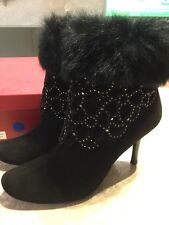 Laura Mannini Ankle Boots, New, Black Suede With Real Fur Trim,Diamanté, Sexy