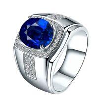 AAA Zirkonia Blauer Stein Finger Silber Ring für Herren Hochzeit cRUWK IhtHl