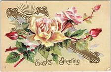 Postcard Easter Greeting Yellow Pink Roses Gold Cross Embossed Q10
