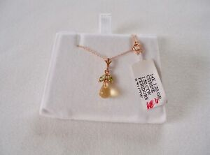 1.70 Ct. Citrine Briolette Solitaire & Peridot  14k Rose Gold Pendant & Necklace