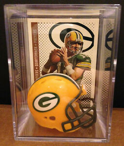 GREEN BAY PACKERS NFL Players Mini Helmet Shadowbox w/ card