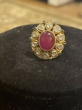 Natural Ruby and diamonds gold plated sterling silver ring