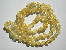 """Natural Baltic Lemon Amber Oval Nugget Beads - 6x10mm - 21"""" strand with clasp"""