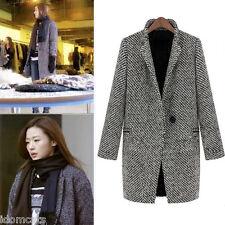 idomcats Jacket Celebrity Wool Coats cardigan style Peacoat Trench Coat Size